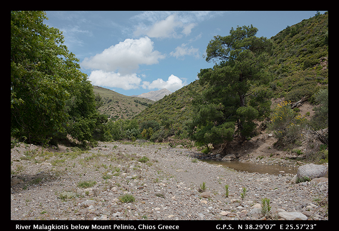 River Malagkiotis below Mount Pelinio, Chios, Greece WP